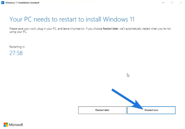 Your PC needs to restart to install Windows 11